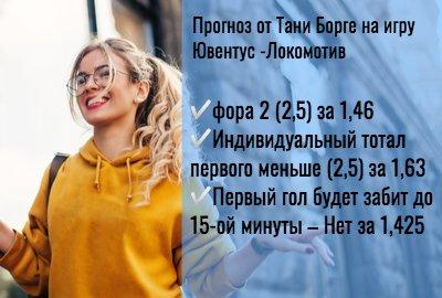 Прогноз на матч Ювентус — Локомотив (22 октября) от Тани Борге