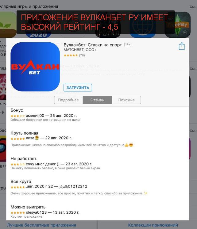 Вулканбет обзор рейтинга приложения