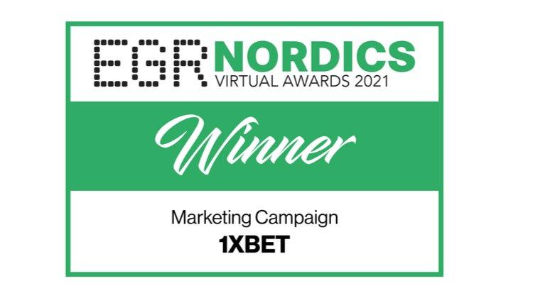 1xBet выиграл награду EGR Nordics Virtual Awards за маркетинговую кампанию года