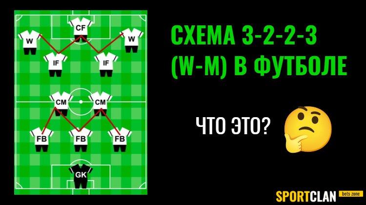 Схема 3-2-2-3 (W-M) в футболе: тактика, функции игроков