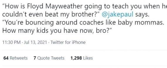 Джейк Пол обращение к Мейвезеру в твиттере