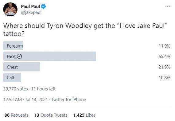 Голосовалка в твиттере от Джейка Пола