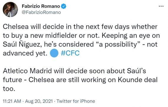 «Челси» не передумал подписывать Сауля Ньигеса